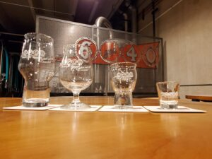 6 and 40 logo glassware