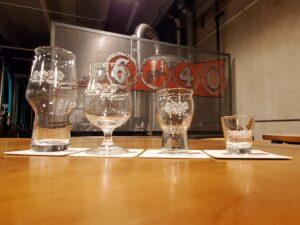 6 and 40 logo glassware